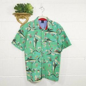 GAP Boys Green Swordfish Button Front Shirt XL
